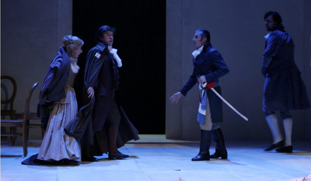 Vlatka Oršanic (Madeleine de Coigny), Branko Robinšak (Andre Chénier), Marko Kobal (Charles Gerard) in Slavko Sekulic (Roucher)